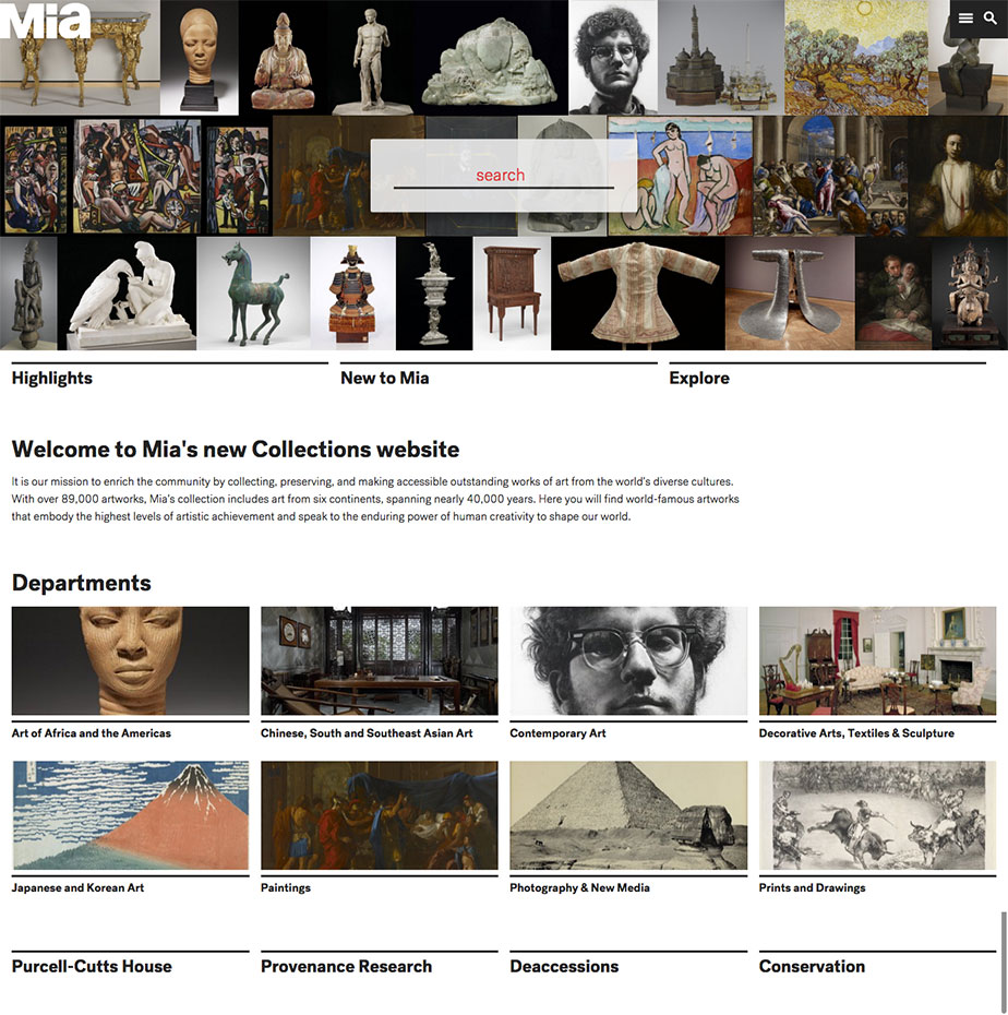 Mia Collections homepage ca. 2015